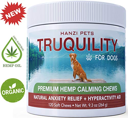 #1 Organic Hemp Chews Dogs Stress & Hyperactivity | Arthritis Pain Relief | Rich in Omega 3 + 6 | cGMP Certified | Made in USA | 120 Savory Soft Chews