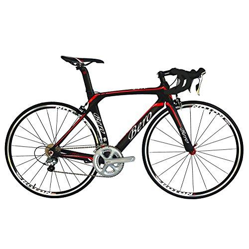 BEIOU® 2016 700C carretera Shimano 105 bicicletas con un cuadro 11S 5800 Bicicleta de carreras T800-M40 fibra de carbono Aero 18.3lbs ultraligeros CB013A-2 (Mate Negro y Rojo, 500mm)