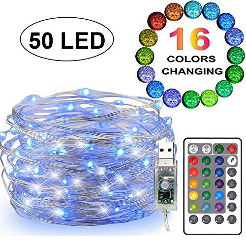 FANSIR LED String Lights, 50 LED USB Powered Multi Color Changing String Lights with Remote, 16.4ft 4 Modes Twinkle Fairy Lights for Indoor Outdoor Garden Party Wedding Christmas Decor (16 Colors)