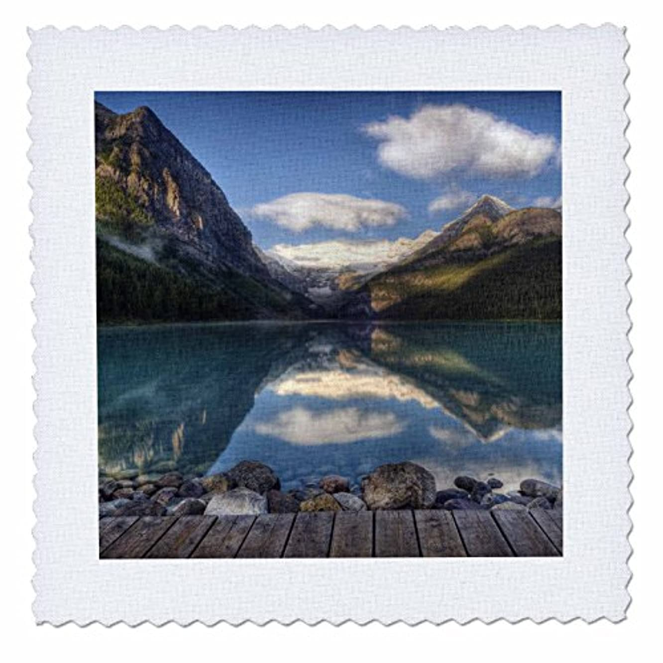 3dRose qs_73734_4 Lake Louise at Sunrise, Banff National Park, Canada-CN02 RKL0001-Raymond Klass-Quilt Square, 12 by 12-Inch