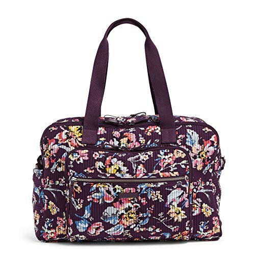 Vera Bradley Women's Iconic Deluxe Weekender Travel Bag, Signature Cotton, Indiana Rose, One Size
