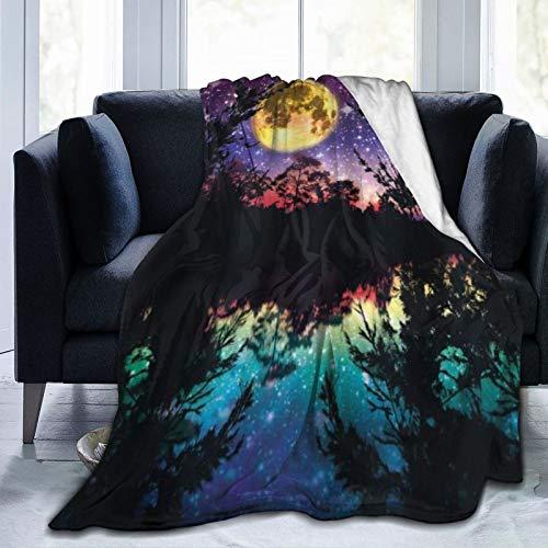 SURERUIM Manta De Tiro De Lana Suave,Purple Lake Moonlight Stars en el Cielo Nocturno con árboles Diseño Moderno,Home Hotel Sofá Cama Sofá Mantas para Parejas Niños Adultos,100x120cm