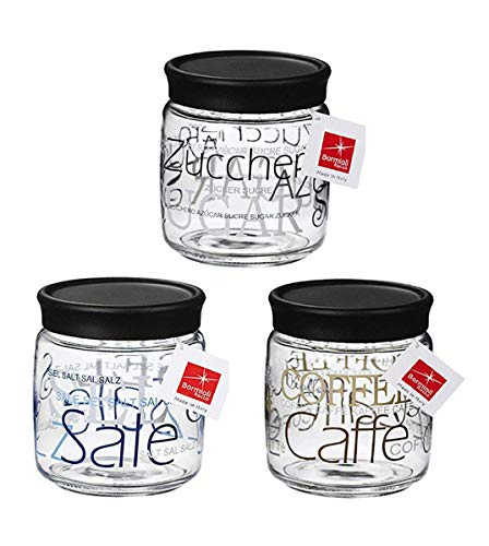 caf/é 3 Botes de 750 ml BuyStar Tris Juego de 3 tarros para Sal az/úcar Juego de tarros de Cristal y Acero Inoxidable
