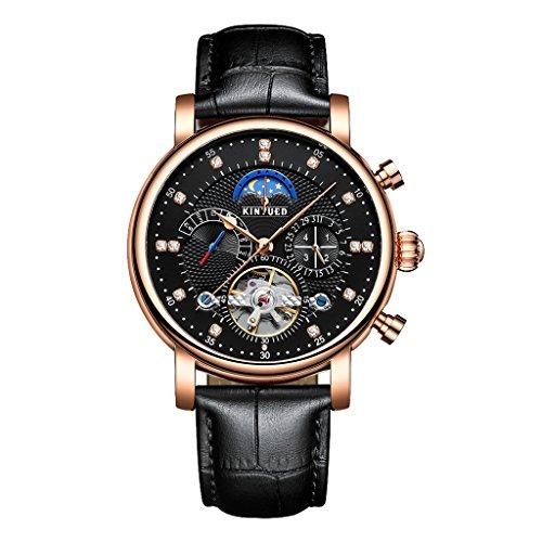 chiwanji Mens Tourbillon Automatic Mechanical Watch Runden Zifferblatt Kalender Wochenanzeige