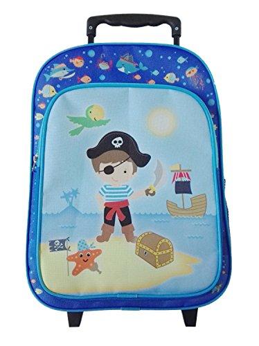 Idena 22045 - Rucksack Trolley mit 2 Rollen für Kinder, blau mit Piraten Motiv, als Handgepäckskoffer, Schultrolley und Kinderrucksack, ca. 40 x 28 x 17 cm