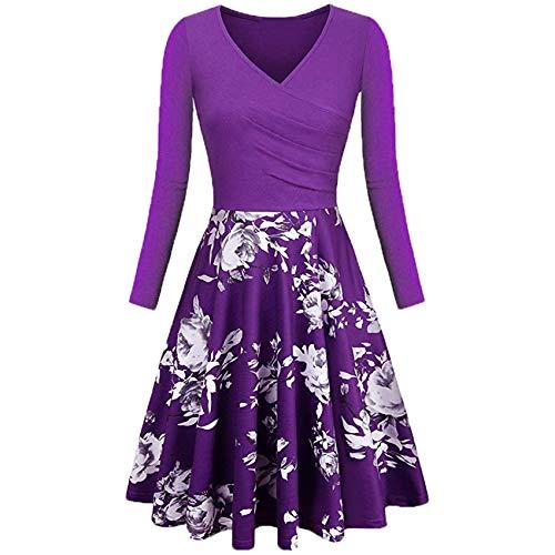 2YD8WH6 Herbst- Und Winterblumendruck LangäRmliges, Elegantes Kleid Mit V-Ausschnitt