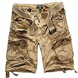 Geographical Norway - Juego de pantalones cortos de estilo cargo con cinturón y pañuelo UD para hombre Beige camuflaje. XXXXL