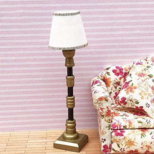DIVISTAR Estilo europeo 1/12 Lámpara de pie miniatura y lámpara de mesa, casa de muñecas hecha a mano suministros de manualidades 2 piezas