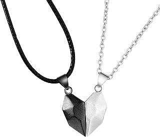 XINSTAR Collier tendance pour femme avec pendentif en forme de cœur et deux âmes - Chaîne légère et simple - Cadeau pour h...