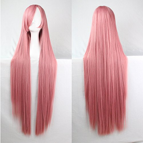Femmes/Ladies 100cm couleur rose longue Cosplay DROITE/Costume/Anime/Fête/Bangs complet Sexy Perruques
