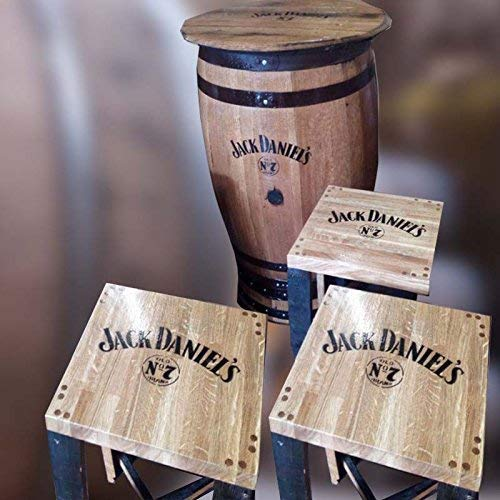 Cheeky Chicks Ltd Gerecycled massief eiken whiskyvat Jack Daniel's Pub-tafel met rond blad (3)