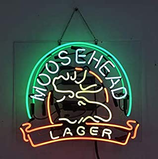 Moosehead Lager Real Glass Beer Bar Pub Store Party Room Wall Windows Display Neon Signs 19x15