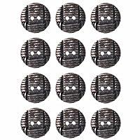 Mibo ABS金属メッキバスケット織りデザイン2穴ボタン盛り合わせサイズ&カラーパックアンティーク真鍮15 mm 12パックアンティークニッケル