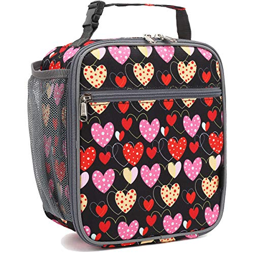 Kids Lunch box Insulated Soft Bag Mini Cooler Back to School Thermal Meal Tote Kit for Girls, Boys by FlowFly,Heart