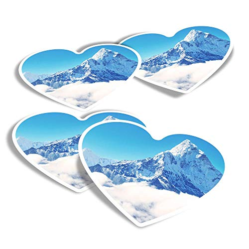 Vinyl Heart Stickers (Set of 4) - Snowy Mount Everest Mountaineering Fun Decals for Laptops,Tablets,Luggage,Scrap Booking,Fridges #15689