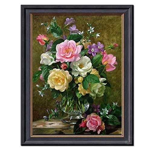 PJFYMG DIY 스티치 세트를 위한 가득 차있는 자수 키트 로즈 꽃 인쇄된 패턴 결혼식 집 벽 장식(크기:실크 스레드)