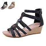 LQLD Sandalias de verano para mujer, talla grande, tejidas con tacón de cuña, estilo vintage, para caminar al aire libre, playa, negro, 40