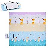 DEERFAMY Picnic Blanket Waterproof Large 79'x79' , Foldable Lightweight Beach Blankets, Camping Blanket Travel Mat , Animal Pattern Cute Play Mat for Kids, 3 Layers Thickened