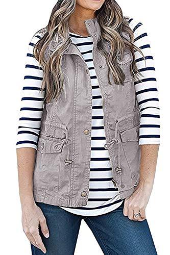 SENSERISE Womens Lightweight Sleeveless Military Anorak Drawstring Jacket Vest(Grey, XL)
