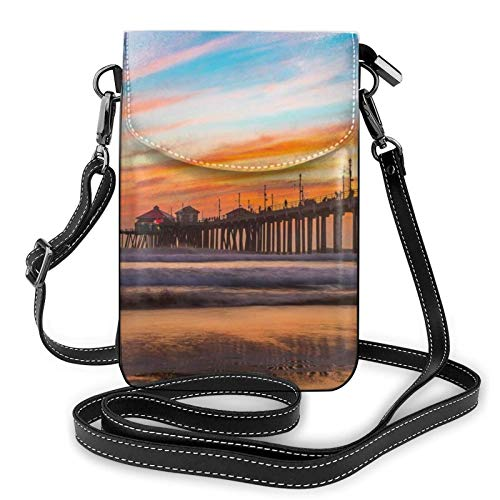 AOOEDM Small Cell Phone Purse Crossbody Cell Phone Purse Blue Dusk Gold Sunset Small Crossbody Bags Women Pu Shoulder Bag Handbag