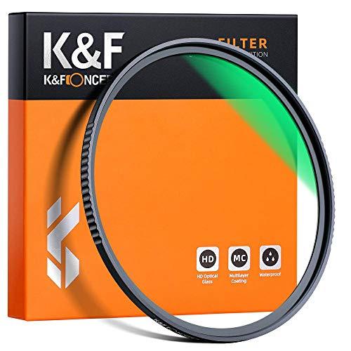 K&F Concept Filtro Ultravioleta UV 77mm Slim Vidrio Alemán Schott con 18 Capas Recubrimiento Multirresistente y Funda