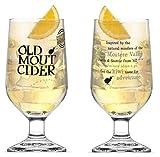 Old Mout Cider CE Marked Stemmed Pint Glasses 20 ounce (Set of 2)