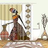 Afroamericano negro chica femenina arte diseño graffiti arte baño ducha cortina impermeable poliéster correa gancho, W180xH200cm