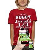 PIXEL EVOLUTION T-Shirt 3D Rugby Texte Personnalisable en Réalité Augmentée Enfant - Taille 9/11 Ans - Rouge