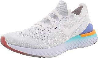 Nike Women's Epic React Flyknit 2 Running Shoes (8, White/Hyper Jade/Orange)