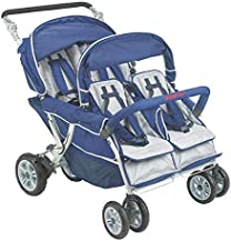 Angeles 4 Passenger SureStop Folding Commercial Bye-Bye Stroller, Blue/Grey – for Ages 6 Months+ - Easy to Maneuver on Any Surface – No-Roll Technology, Locking Foot Pedal Brake – Sturdy, Lightweight