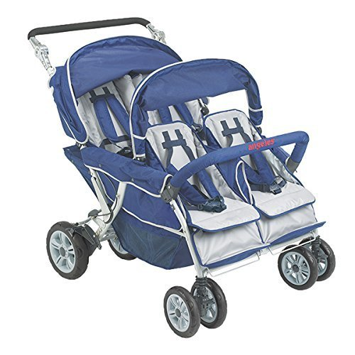 Angeles 4 Passenger SureStop Folding Commercial Bye-Bye Stroller, Blue/Grey - for Ages 6 Months+ - Easy to Maneuver on Any Surface - No-Roll Technology, Locking Foot Pedal Brake - Sturdy, Lightweight