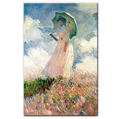 HNZKly Frau Mit Einem Sonnenschirm Wand Bilder Leinwand GemäLde Impressionist BerüHmte Leinwand GemäLdedrucke Home Wohnzimmer Schlafzimmer Moderne Dekoration 50x75cm / Ungerahmt