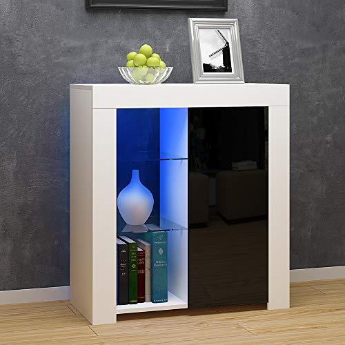 Commode de Eclairage LED, Buffets, Meuble de Rangement sur Salon, Chambre, 75 x 35 x 83 cm (Noir+Blanc)
