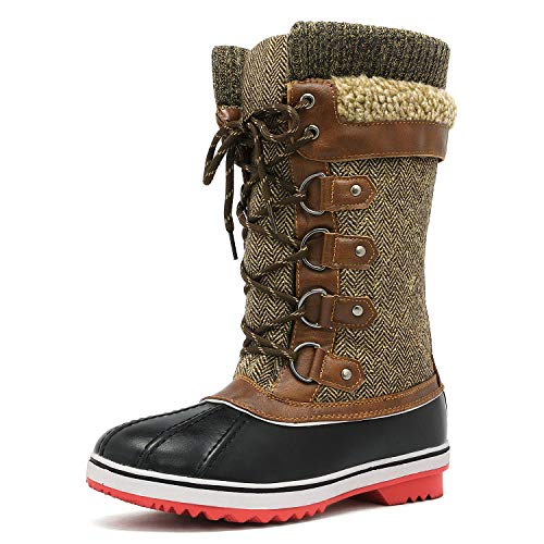 DREAM PAIRS Women's Monte_02 Brown Mid Calf Winter Snow Boots Size 8 M US