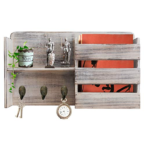 Honest Torched Wood Rustic Wall Mounted Key & Mail Holder,Organizer with 3 Key Hooks Shelf for Entryway or Mud Room Holds Documents, Bills, Letters, Keys (Barnwood White)