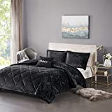 Intelligent Design Felicia Luxe Comforter Velvet Lush Double Sided Diamond Quilting Modern All Season Bedding Set with Matching Sham, Decorative Pillow, Full/Queen(90'x90'), Black 4 Piece