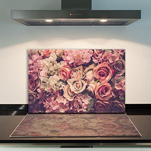 CTC-Trade | Herdabdeckplatten 80x52cm Ceranfeld Abdeckung Glas Spritzschutz Abdeckplatte Glasplatte Herd Ceranfeldabdeckung Rose Pink