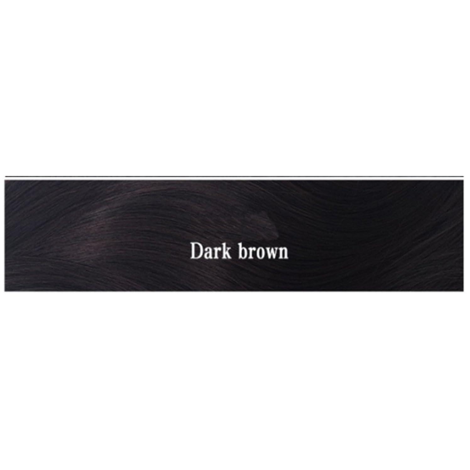 圧倒的予測子手当JIANFU 女性 耐熱 長い ストレート ウィッグ 人間の髪 フラット バンズ ウィッグ ナチュラル カラー パーティ 220g (Color : Dark brown)