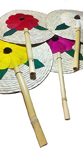 13'' Palm Hand Fans, 4 Colors Pack Palm Leaf Hand Fans, Bundle Decorative Handfan, Wicker Floral Fan, Fiesta Party, Floral Handfan, Handmade Palm Fans, Perfect Wedding Favor Fans,