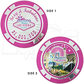 LAS VEGAS SEXY & FABULOUS PINK FOILED MILLION DOLLAR POKER CHIP STYLE MAGNET (2 SIDED)