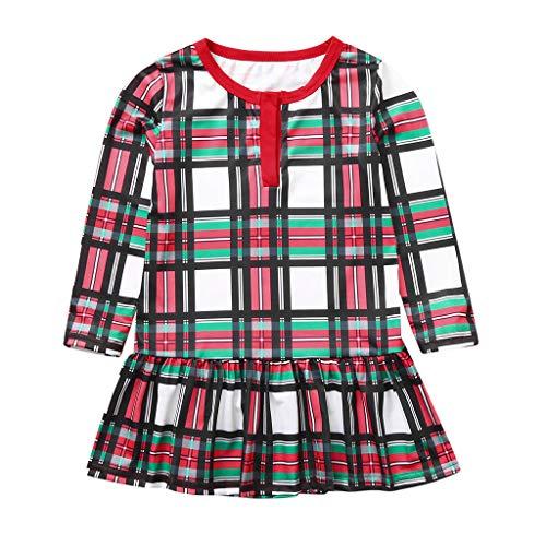 Weihnachten Schlafanzug Set,Baby Kleidung Pullover Pyjama Outfits Set Familie Brief Drucken Tops Frohe Weihnachten Plaid Print Trainingsanzug Familie passende Kleidung Outfits (Mädchen, 110)