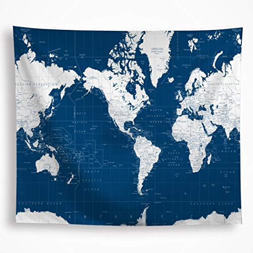 """World Map Tapestry Wall Hanging Navy Blue White Painting Geography Ocean Nautical Decoration Blanket Wall Art for Dorm Bedroom Living Room Office Home Decor 51""""x59"""""""