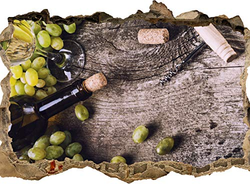 wandmotiv24 Autocollant mural 3D Bouteille de vin blanc et raisins sur une vieille table, Design 01, 60x40cm (BxH), Sticker décoration murale, murale, effet 3D, fenêtre, mur, sticker mural, autocollant M0838