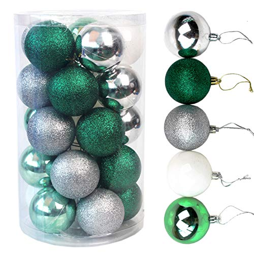 Christmas Balls ,2.3 Inches 25 Large Christmas Balls Christmas Decoration Balls (Green, 2.3 Inches. 6 Cm)