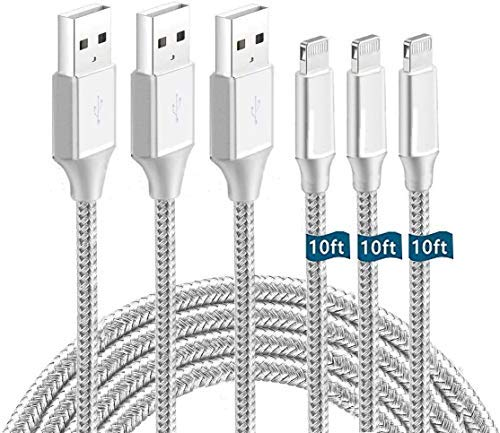 iPhone Charger Cable,3Pack 10ft Apple MFi Certified Lightning Cable,(3Pack 10Foot) Nylon Braided iPhone Charging Cord USB Cable Compatible iPhone 12/ Mini/SE/11/Pro/X/Xs Max/XR/8 Plus /7 Plus/Airpods