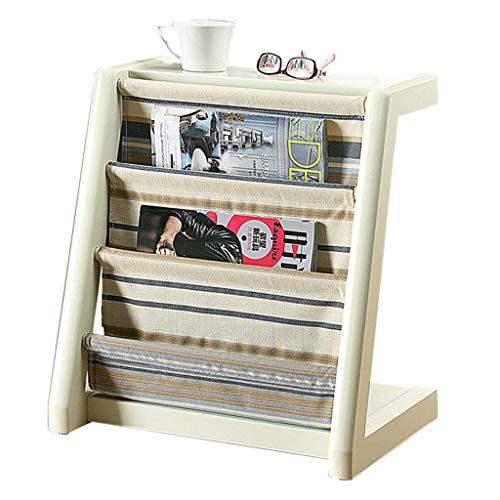 YUQIYU Bastidor Bastidor Creativo Muebles de Madera Piso de Rack periódico sólido Estante estantería Vertical Simple Muebles de la Sala de Estudio (Color: Blanco, tamaño: 51 * 46,5 * 33 cm)