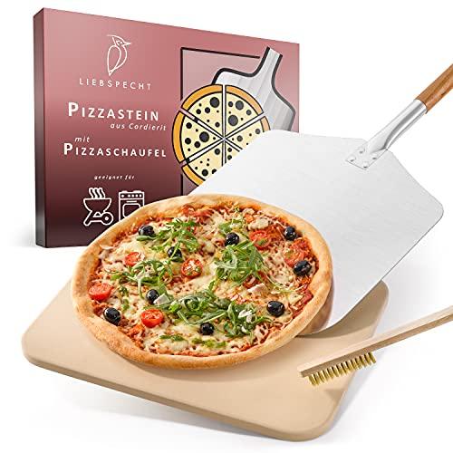 Liebspecht® Hochwertiger Pizzastein und Pizzaschieber [GRATIS BÜRSTE] - geeignet für Backofen, Grill & Gasgrill - Pizzastein Set für Pizza wie beim Italiener - Brotbackstein - Hitzebeständig