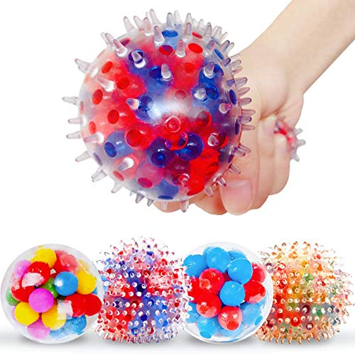 Fidget Stress Balls for Kids and Adults 4 Packs Fidget Balls Water Bead Stress Balls Sensory Ball Squeezing Ball Squishy Ball Fidget Toys Set for Anxiety Autism ADHD and More