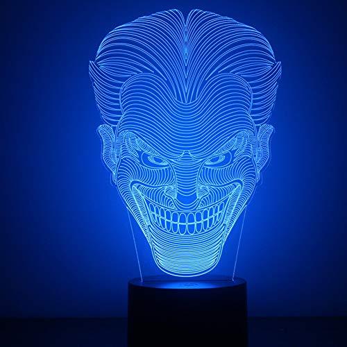 LLZGPZXYD Batman Joker Lampe 3D LED Veilleuse Visuelle USB Lampe De Table Chambre Lampe De Chevet Veilleuse Veilleuse Décor À La Maison Cadeaux