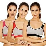 waooo Women's Cotton Non Padded Sports Bra (Pack of 3) (RL-SB-BK-RP-36_Multicolored_36)
